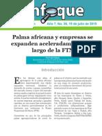 Palma africana y empresas se expanden aceleradamente a lo largo de la FTN
