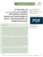 Detection of Escherichia coli O 157:H7 and O104:H4 in patients with diarrhea in Northern Lebanon and characterization of fecal E. coli producing ESBL and carbapenemase genes