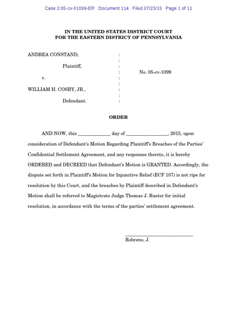 Cosby Confidentiality Andrea Constand V William H Cosby Jr