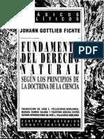 Fichte Johann - Fundamentos Del Derecho Natural Segun Los Principios de La Doctrina de La Ciencia