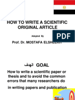 How to Write a Scientific Original Article