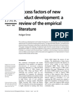 Success Factors of New Product Development - A Review of the Empirical Literature
