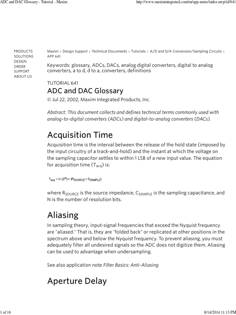 ADC and DAC Glossary - Tutorial - Maxim pdf | Analog To