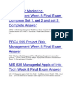 PROJ 595 Project Risk Management Week 8 Final Exam Answer