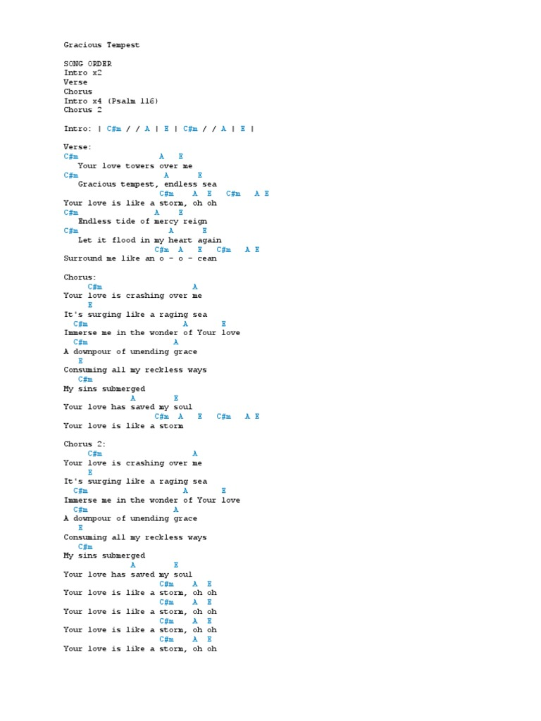 Gracious Tempest.docx   Song Structure   Theology