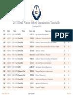 2015 Draft Winter School Examination Timetable