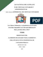 La Cultura Tributaria y Su Incidencia en La Evasión de La Base Imponible en El Mercado Bellavista de Puno, Periodos 2013 y 2014