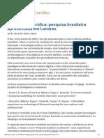 ConJur - Pesquisa Brasileira Apresentada Em Londres