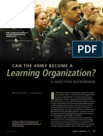 Can the army BeCome a learning Organization? a Question reexamined