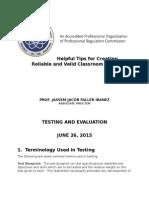 Handbook on Test Construction