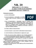 Nr. 20- Eliberare c.i. in Urma Modificarii Unor Date Despre Proprietar Sau Vehicul (1)