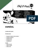Manual Chef o Matic Pro ESPAÑOL Spanish Recetario