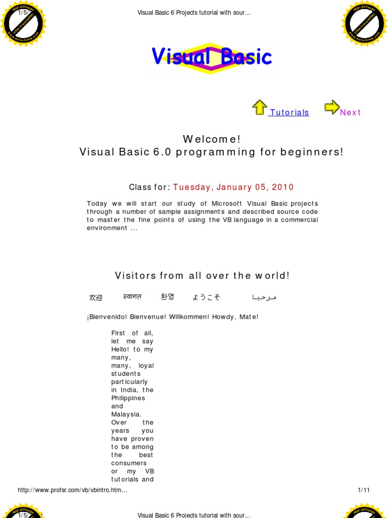 Visual Basic 6 Projects Tutorial With Source Code | Visual Basic For