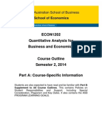 ECON1202 Quantitative Analysis for Business and Economics 2014