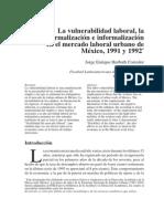 La vulnerabilidad laboral, la formalización e informalización en el mercado laboral urbano de México, 1991 y 1992