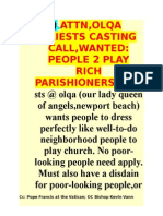 ATTN,OLQA PRIESTS CASTING CALL,WANTED