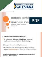 Beneficios Sociales, 231, Julio Rosero