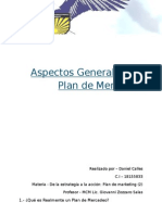Aspectos Generales del Plan de Mercadeo