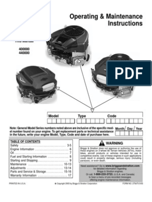 Briggs & Stratton Owners Manual | Throttle | Carburetor