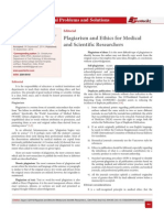 Plagiarism and Ethics for Medical  and Scientific Researchers