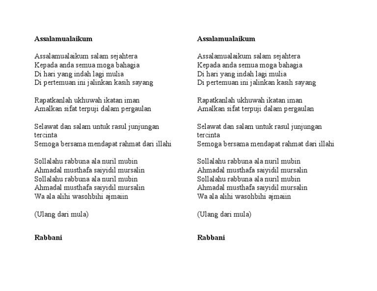 Lirik Lagu Assalamualaikum