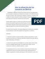 Análisis Sobre La Situación de Los Derechos Humanos en Bolivia