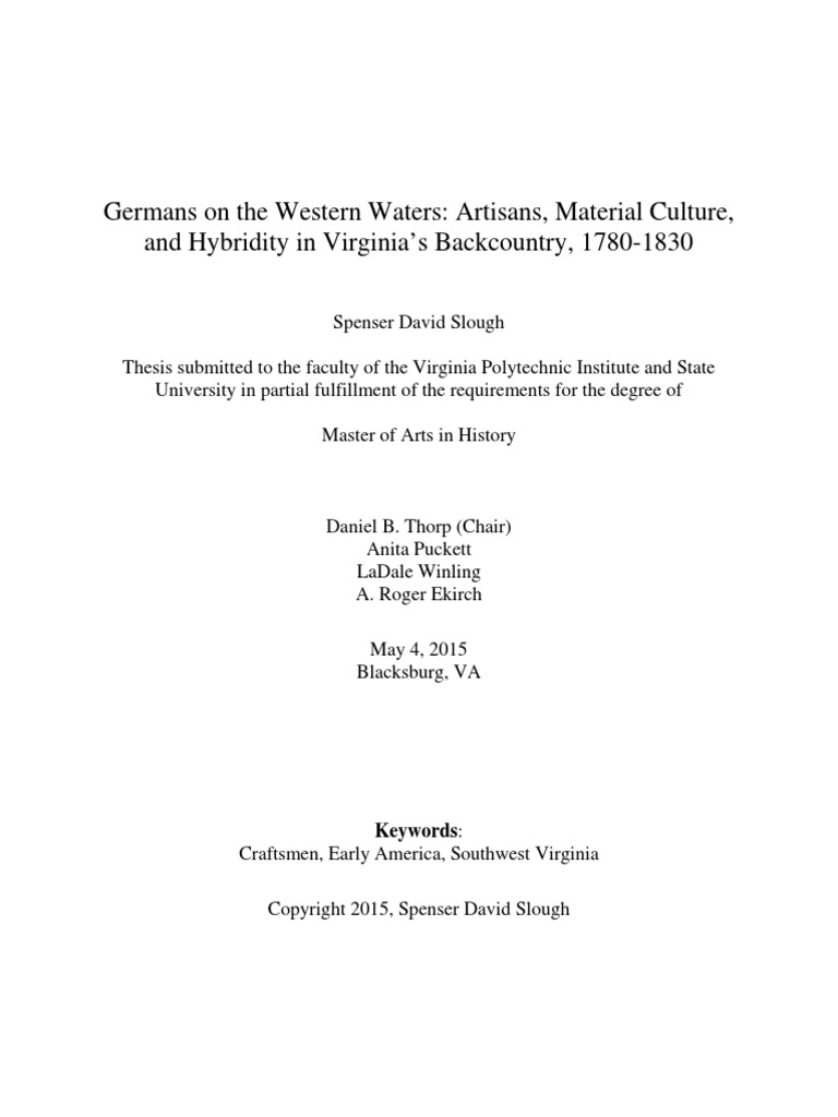 Germans on the Western Waters: Artisans, Material Culture, and ...