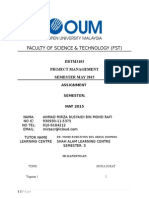 EBTM3103 PROJECT MANAGEMENT SEMESTER MAY 2015  ASSIGNMENT