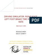 nic hardy - driving simulator - right foot left foot brake time reaction rates