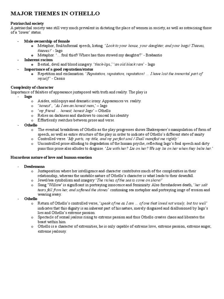 Major Themes in othello | Iago | Othello