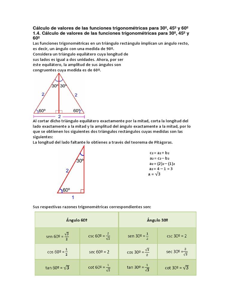calculo de valores de las funciones trigonomtricas