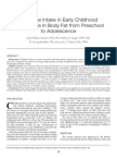 Beverage Intake in Early Childhood and Change in Body Fat from Preschool to Adolescence