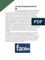 Los Ingresos de Facebook No Es La Esperada