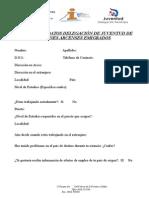 Ficha Registro Datos Delegación de Juventud Jóvenes Arcenses Emigrados
