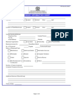 Vendor Information Sheet