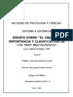 ENSAYO SOBRE Objetivos, Importancia y Clasificación de Los Test Psicológicos