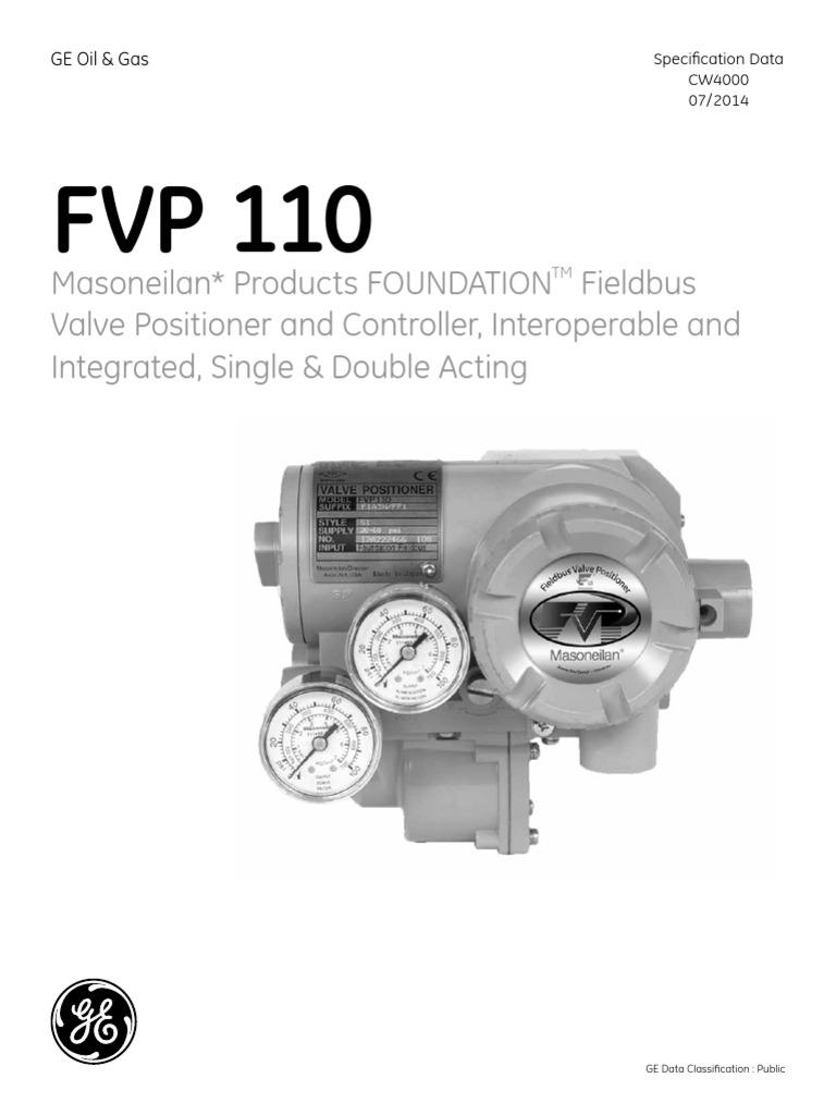 GEA 19525 Masoneilan FVP 110 Fieldbus Valve Positioner Specification