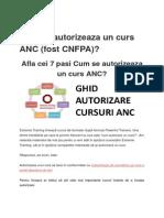 Cum Se Autorizeaza Un Curs ANC