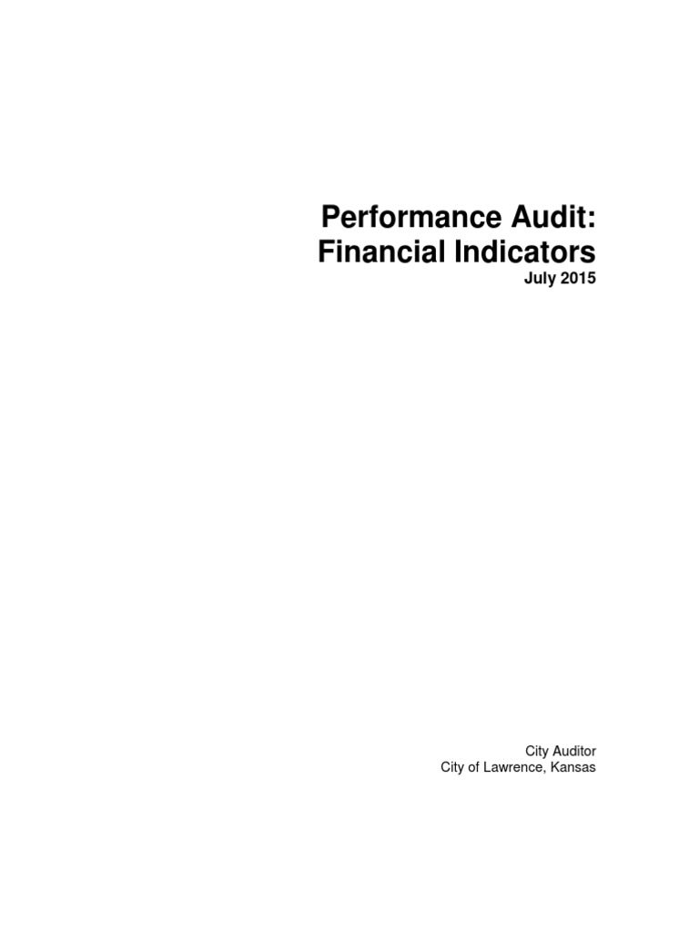 City of Lawrence Performance Audit: Financial Indicators