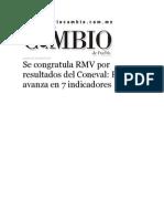 23-07-2015 Diario Matutino Cambio de Puebla - Se Congratula RMV Por Resultados Del Coneval, Puebla Avanza en 7 Indicadores