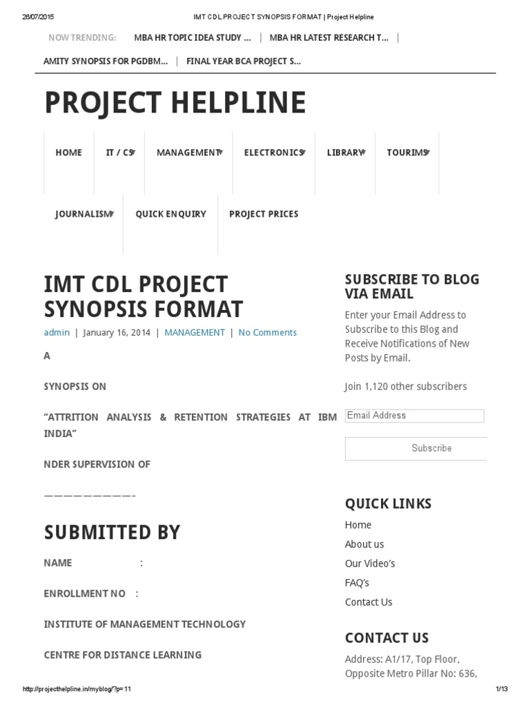 Imt Cdl Project Synopsis Format | Likert Scale | Science