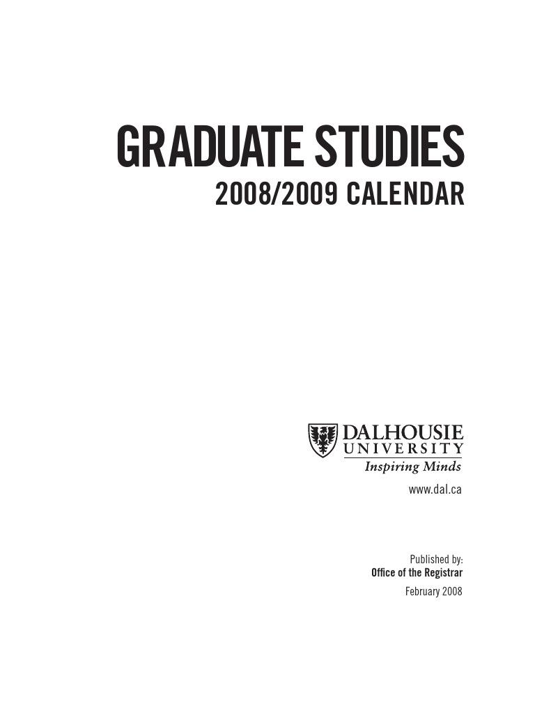Dal Grad Calender | Graduate School | Postgraduate Education