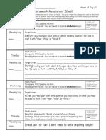 Week of July 27 Homework Sheet and Letterland Unit 3 List