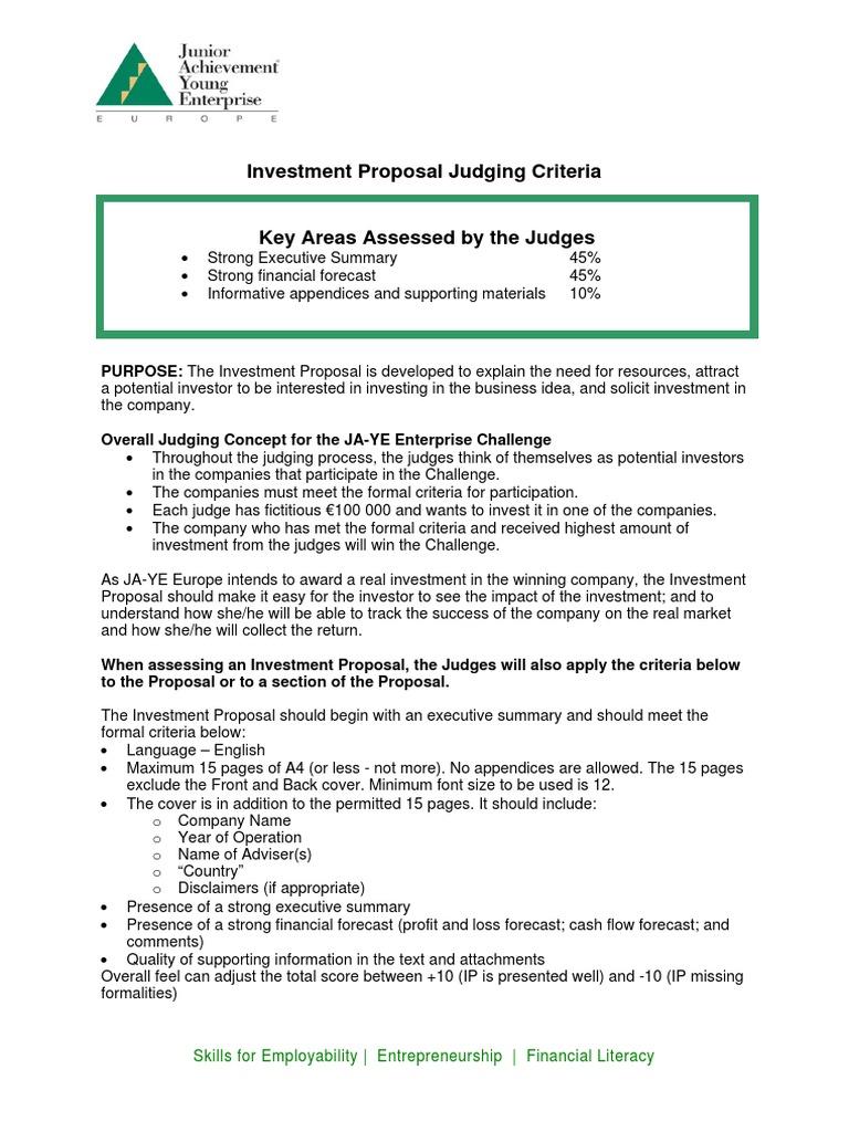 Investment Proposal Judging Criteria   Trade Off   Investing