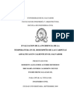 Evaluación de La Incidencia de La Temperatura en El Desempeño de Las Carpetas Asfálticas en Caliente en El Salvador