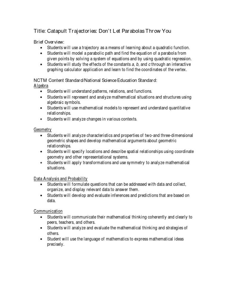 Worksheets Quadratic Regression Worksheet parabola quadratic equation mathematical objects