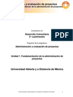 Unidad 1. Fundamentacion de La Administracion de Proyectos