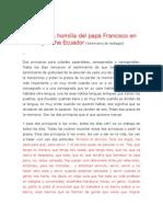 Parte de La Homilía Del Papa Francisco en Quinche Ecuador