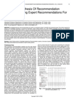 Knowledge Synthesis of Recommendation Systems Finding Expert Recommendations for Cuisines