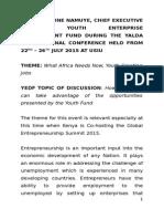 Remarks by YEDF CEO Ms. CATHERINE NAMUYE at YALDA International Confrence